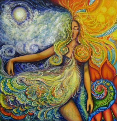 mujer equilibrio, belleza natural, aire, agua, fuego, tierra